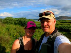 Eva og Espen er klare til å fiske på Thingvallavatn